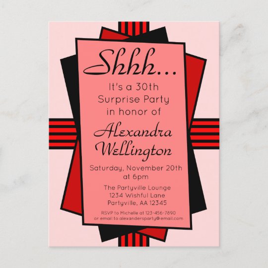 Red Art Deco 30th Surprise Party Birthday Invitation Postcard
