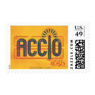 Red Art Deco Accio Spell Graphic Postage