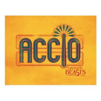 Red Art Deco Accio Spell Graphic Postcard