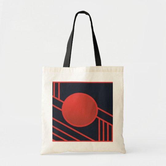 Red Art Deco Circle Tote Bag
