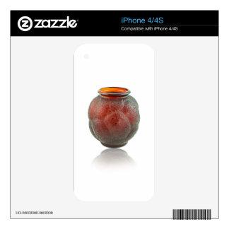Red Art Deco glass vase depicting turtles. iPhone 4S Skin