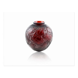 Red Art Deco glass vase with scarabs. Postcard
