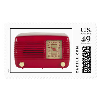 Red Art Deco Radio Photo Postage Stamps