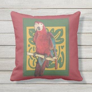 Red Art Nouveau Parrot Throw Pillow