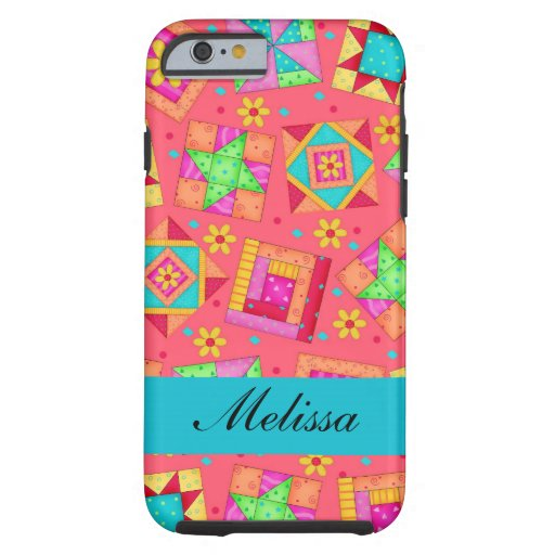 Red Art Patchwork Quilt Blocks Name Personalized iPhone 6 Case