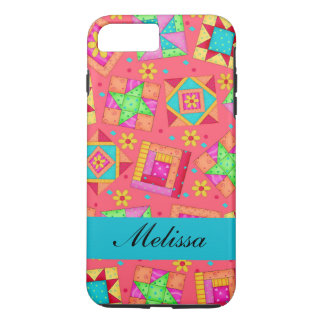Red Art Patchwork Quilt Blocks Name Personalized iPhone 7 Plus Case