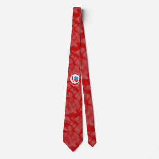 Red Aruban LOVE White Circle Red Background Neck Tie