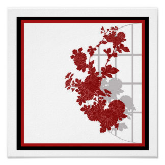Red Asian Floral Poster
