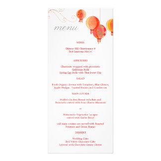 Red Asian Lanterns White Wedding Reception Menus