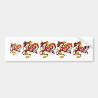 Red Asian Lung Dragon Car Bumper Sticker