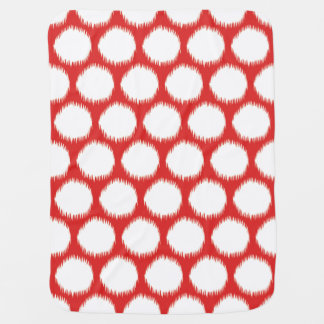 Red Asian Moods Ikat Dots Swaddle Blanket