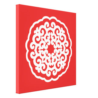 Red Asian Moods Mandalla Gallery Wrapped Canvas