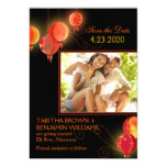 """Red Asian Paper Lanterns Cute Photo Save the Date 5"""" X 7"""" Invitation Card"""