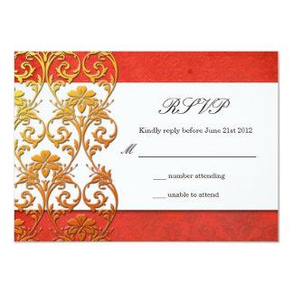 Red Asian Swirl Wedding RSVP Card