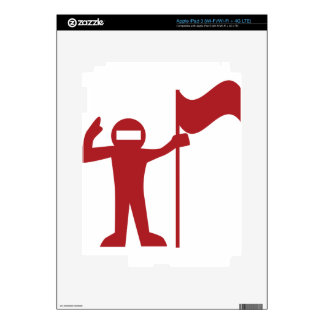 Red Astronaut With Flag Icon iPad 3 Decals