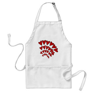 Red Asymmetrical Hearts Outlined, Random Apron