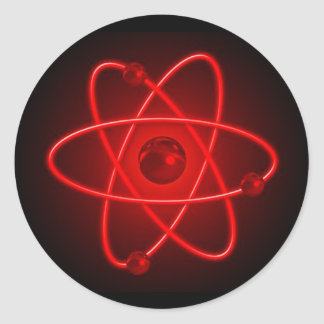Red Atom Classic Round Sticker
