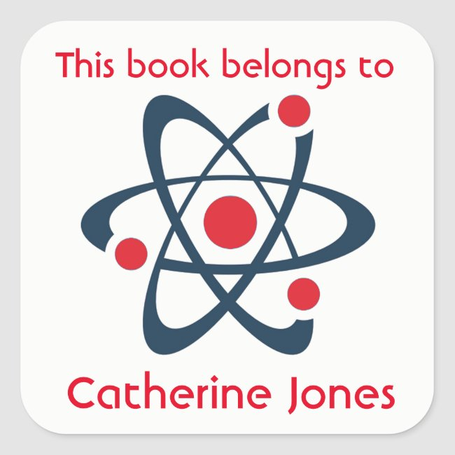 Red Atom Science Design Bookplate Sticker