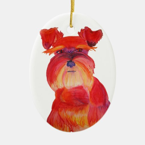 Red Austin Double-Sided Oval Ceramic Christmas Ornament