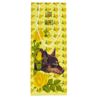 Red Australian Kelpie and Yellow Roses Wine Bag