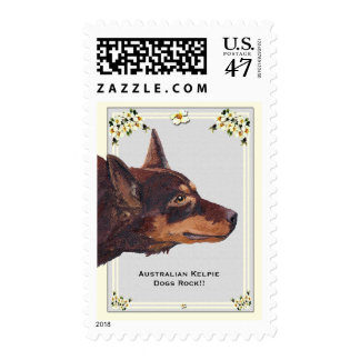 Red Australian Kelpie on Grey Dogwood USA Postage
