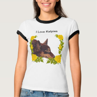 Red Australian Kelpie on Yellow Roses T-Shirt