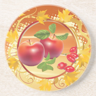 Red autumn apples and dogrose coaster