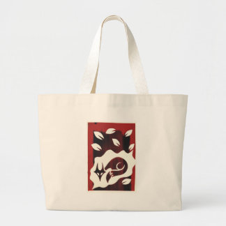 Red Autumn Fox Print Large Tote Bag