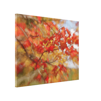 Red Autumn Leaves Abstract Painting Canvas Print
