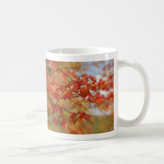 Red Autumn Leaves Abstract Painting Coffee Mug