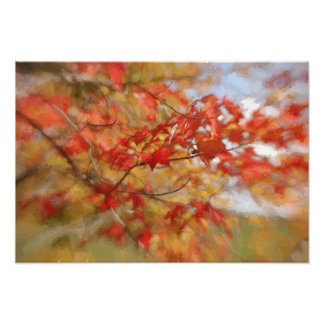 Red Autumn Leaves Abstract Painting Photo Print