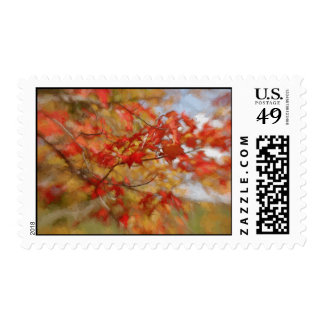 Red Autumn Leaves Abstract Painting Postage