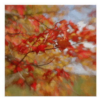 Red Autumn Leaves Abstract Painting Poster