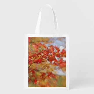 Red Autumn Leaves Abstract Painting Reusable Grocery Bag