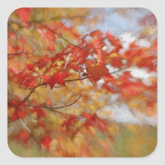 Red Autumn Leaves Abstract Painting Square Sticker