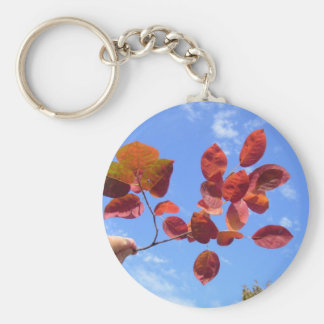RED AUTUMN LEAVES BRANCH IN HAND KEYCHAIN