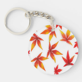 Red Autumn Leaves Double-Sided Round Acrylic Keychain