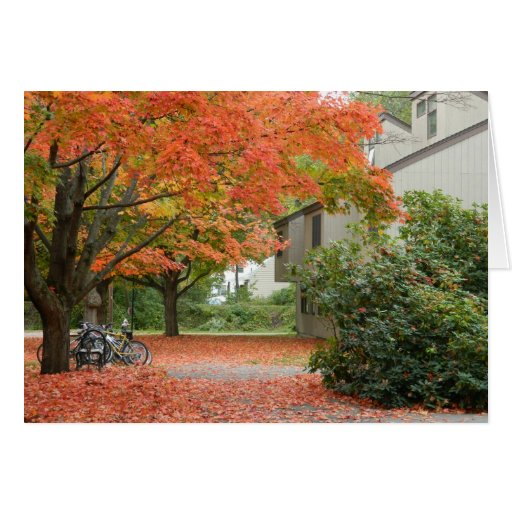 Red Autumn Leaves Falling Greeting Card