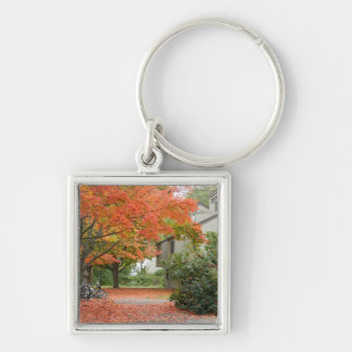 Red Autumn Leaves Falling Keychain