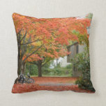 Red Autumn Leaves Falling Throw Pillows