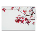 red autumn leaves on a branch card
