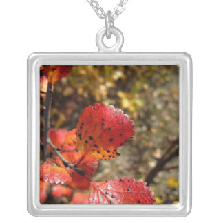 Red Autumn Leaves Square Pendant Necklace