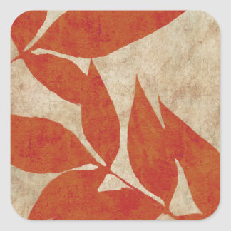 Red Autumn Leaves Vintage Square Sticker