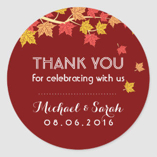 Red Autumn Maple Leaves Fall Thank You Sticker
