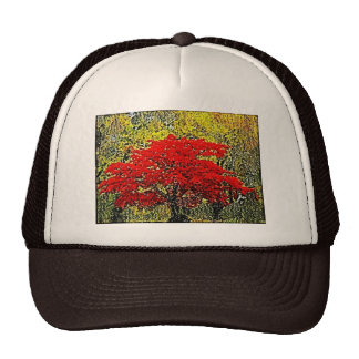 Red Autumn Painting Art Hat