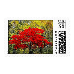 Red Autumn Painting Art Postage