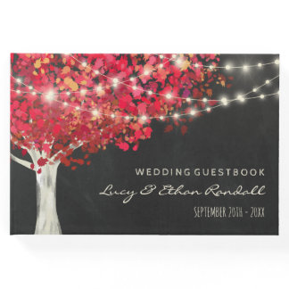 Red Autumn Tree & String Lights Wedding Guest Book