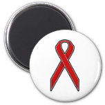 Red Awareness Ribbon 2 Inch Round Magnet
