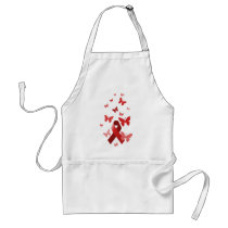 Red Awareness Ribbon Adult Apron