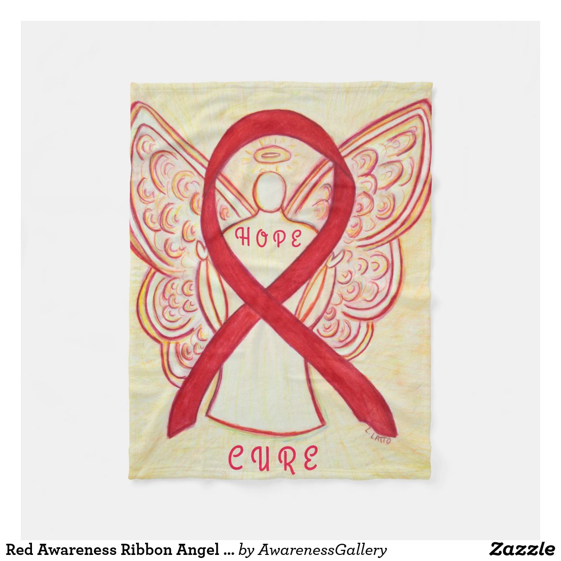Red Awareness Ribbon Angel Blood Cancer Blanket